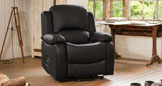 Emsworth electric riser recliner with massage and heat black