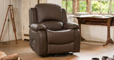 Emsworth electric riser recliner with massage and heat brown