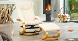 Melrose Massage with Heat Swivel Chair Brown